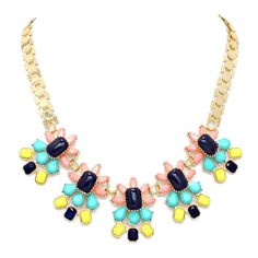 South Of France Neon Stone Mix Bloom Necklace ($29) ❤ liked on Polyvore featuring jewelry, necklaces, flower necklace, bib statement necklace, flower statement necklace, stone flower necklace and stone jewelry