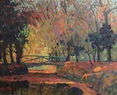 Bridge in the autumn woods par Albert Malet Woods, Bridge, Autumn, Artist, Painting, Flowers, Paint, Apple Tree, Fall Season