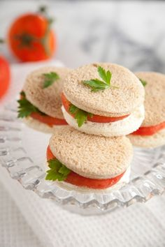 Tomato Sandwich with Parsley or Basil for a tea party. If vegan use a vegan mayo