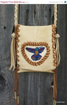 ON SALE Beaded leather purse Beaded hummingbird bag by thunderrose