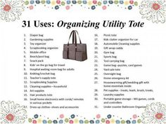 Thirty one uses for Organizing utility tote. mythirtyone.com/MicCheck out the September Special:  For every $35 you spend, you can get an organizing tote of $15.  or a Super Organizing tote for $25.  What a super deal!  Contact me and we will get your orders in or go to my website at:  www.mythirtyone.com/81958.