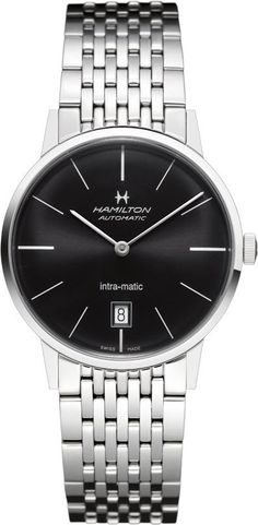 Hamilton Watch American Classic Intra-Matic Auto #bezel-fixed #bracelet-strap-steel #brand-hamilton #case-material-steel #case-width-38mm #date-yes #delivery-timescale-7-10-days #dial-colour-black #gender-mens #luxury #movement-automatic #official-stockist-for-hamilton-watches #packaging-hamilton-watch-packaging #subcat-american-classic-timeless-classic #supplier-model-no-h38455131 #warranty-hamilton-official-2-year-guarantee #water-resistant-50m