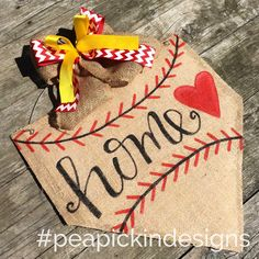 "Items similar to Burlap ""Home"" Door Hanger with Softball Style Bow {Perfect for…"
