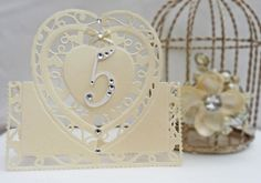 Here we are with Sneak Peek 3 and Wedding Table Number idea, which is a faux-laser cut half in-half out filigree card. Tonic Cards, Marriage Cards, Studio Cards, Hand Made Greeting Cards, Heart Cards, Wedding Table Numbers, Love And Marriage, Craft Tutorials, Wedding Cards