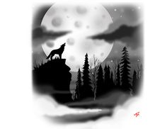 Wolf howling at the moon In the forest on a cliff custom design. Full moon in black and white tattoo