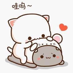 Cute Cartoon Pictures, Cute Love Pictures, Cute Love Cartoons, Cute Anime Cat, Cute Cat Gif, Cute Cats, Chibi Cat, Cute Chibi, Cute Bear Drawings