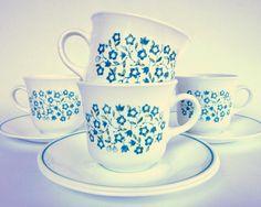 """Corelle """"Blue Heather"""" Cups & Saucers"""