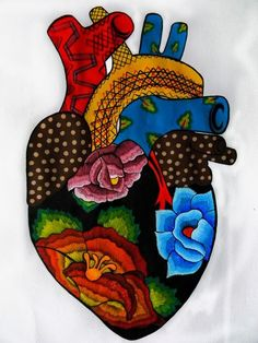 Great Pictures mexican Embroidery Designs Suggestions Embelleshment can be a stunning strategy to light up your home as well as a terrific passion in order to spen Coeur Tattoo, Arte Latina, Pink Hotel, Mexican Paintings, Mexican Embroidery, Folk Embroidery, Embroidery Designs, Embroidery Hearts, Mexico Art