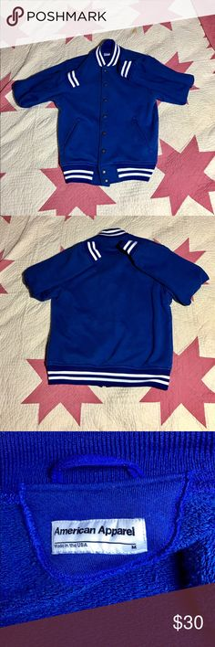 Blue American Apparel Varsity Jacket, Medium. I'm trying to minimize my closet, I've had this jacket for a little over 4 months. I have so many other jackets and I hardly ever wear this one,  It's really warm and it's in really good condition. American Apparel Size Medium.   ✅ 1-2 Day Shipping!  ✅ Make me an offer! ✅ Ask as many questions as you like! ✅ Smoke free Home! 🚭 ✅ Pet free home! American Apparel Jackets & Coats Bomber & Varsity