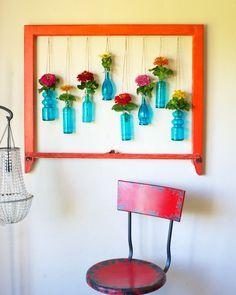 DIY: window frame floral wall art