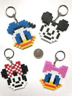 Disney Mickey & Minnie / Donald & Daisy Keyrings Hama Bead UK
