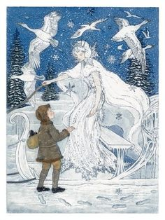The Snow-queen  The snowflakes grew larger and larger till they looked like great white birds. All at once they flew aside, the large sledge stood still, and the figure who was driving stood up. The fur cloak and cap were all of snow. It was a lady, tall and slim, and glittering. It was the Snow-queen.   'We have come at a good rate,' she said; 'but you are almost frozen. Creep in under my cloak.'