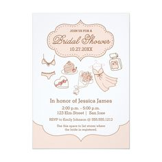 New girly bridal shower invitation