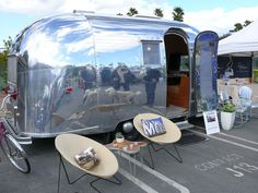 Oh look, they're camping in a toaster! Vintage Campers Trailers, Vintage Airstream, Airstream Trailers, Homemade Curtains, Cool Campers, Camping Glamping, The Great Outdoors, Air Stream, Rv Living
