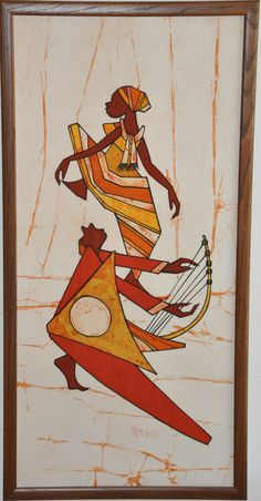 """Framed Original African Tapestry Drawing Ink on Linen 38"""" x 18"""""""