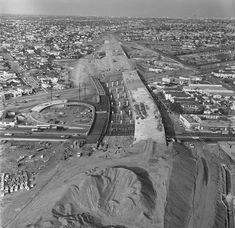 CENTRAL L.A.   MID-CITY:  The Santa Monica freeway under construction at La Cienega and Venice boulevards, 1964. Courtesy of the Los Angeles Times Photographic Archive. Department of Special Collections, Charles E. Young Research Library, UCLA.