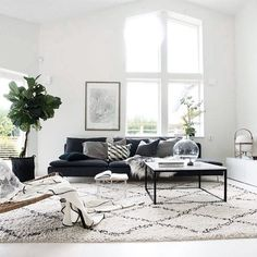 Green Sofa Black And White Rug.Comfortable Living Room Where You Would Love To Spend Your . Beautiful Blue Sectional Sofa To Give Vary Interior Design . Scandinavian Living Room Design Style Decor Around The World. Home and Family Living Room Interior, Home Living Room, Apartment Living, Home Interior Design, Living Room Designs, Living Room Furniture, Modern Interior, Black Sofa Living Room, Furniture Layout