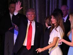President-elect Donald Trump and his wife greet supporters