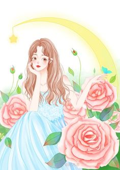 Girl Cartoon, Cartoon Art, Cute Love Cartoons, Girls With Flowers, Hey Girl, Aesthetic Art, Pretty Girls, Anime Art, Teen