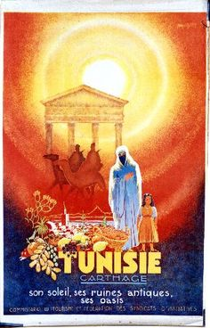 Olivier - Tunisie Carthage - 1949 tourism vintage poster advertising the merits of Carthage in Tunisia