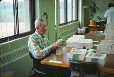 Lester Mclemore inserting magazine expiration slips. Lester was night watchman at Watchtower Farm #2 in 1970 where I lived in the attic. (Roger Johnson)