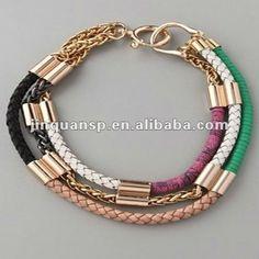 d70c85a47490 El triple alinea el collar de cuero trenzado con la cadena (JQN5073)- Collares