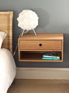 Floating Nightstand with Drawer in White Oak / Mid Century Modern Bedside Table