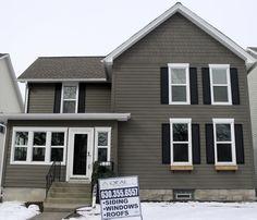 James Hardie Siding: Timberbark, HardieTrim: Arctic White (Naperville, IL) Installed by Opal Enterprises, Inc.