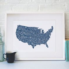 American Gastronomy Map A3 42x30cm { navy blue } | LucyLovesThis on Etsy