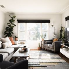Living Room Design Ideas: Layout, Styling, Space, and Storage | Hunker Tiny Living Rooms, Rugs In Living Room, Home And Living, Living Room Furniture, Living Room Decor, Living Spaces, Small Living Room Designs, Small Living Room Storage, Furniture Placement