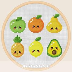 Kawaii Cross Stitch, Cross Stitch Fruit, Xmas Cross Stitch, Cross Stitch Bookmarks, Simple Cross Stitch, Cross Stitch Kits, Cross Stitch Designs, Cross Stitching, Cross Stitch Patterns Free Easy