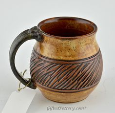 Handmade Pottery Mug w Saying - Tan / Brown Band | Gifted Pottery