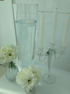 Vaso Cilíndrico de Vidro Transparente Castiçal de Vidro Transparente para 3 velas Garrafinha de Vidro Transparente