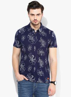 9082d407 Buy SPYKAR Navy Blue Printed Slim Fit Polo T-Shirt Online - 4773876 - Jabong