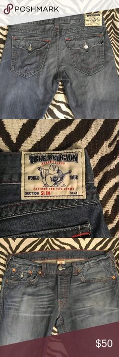 True Religion slim cut jeans Beautiful pair of True Religion slim jeans at a great price! Button up fly with 5 pockets and signature True Religion stitching. Waist size 40. Fantastic condition! True Religion Jeans