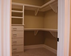 Need this for his & hers plus open area for current drawers ------Corner Closet Design Ideas, Pictures, Remodel, and Decor Closet Redo, Closet Remodel, Master Bedroom Closet, Kid Closet, Bathroom Closet, Closet Space, Master Bedrooms, Bedroom Wardrobe, Closet Paint