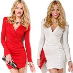 Sexy Women Bodycon Dress Vestidos,Top Quality Deep V-Neck Long Sleeve One-piece Casual Mini Dress White Red Star Style G0717, $12.49 | DHgate.com