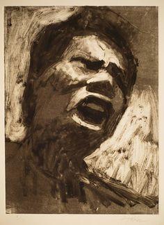 Frank Hobbs: Protester, monotype, 11 x 9 in. Drawing Prints, Contemporary Portrait, Figure Painting, Linocut Prints, College Art, A Level Art, Art, Monoprint, Protest Art