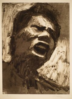 Frank Hobbs: Protester, monotype, 11 x 9 in.