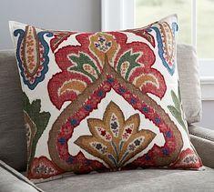 """Sullivan Ikat Pillow Cover, 24 x 24"""", Ivory/Multi"""