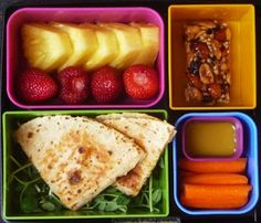 This weeks Laptop Lunches Bento Menu: Cool Kids Quesadilla Bento. For all those teens and middle schoolers who are too cool for cute, but still want to feel the love!  Spinach Salad, Pita Bread, Pineapple, Strawberries, Carrot Sticks, Honey Mustard, Granola Bar. #Bentology #lunchideas