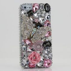 Bling iphone 5 case Luxury 3D Swarovski Crystal Diamond Butterfly Silver Design Bling Case Cover (100% Handcrafted by BlingAngels)