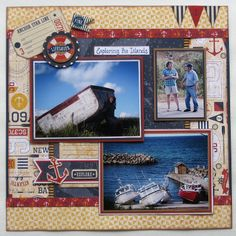 The page as a whole is a little busy for me, but I like the embellishment clusters and the double matted photos.  I would copy this, just with a more neutral paper in the center.