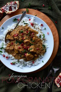 Fesenjan Pomegranate Chicken | minimalistbaker.com - Sub cauliflower and/or chickpeas for the chicken and use vegetable stock. -hg