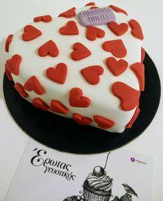 Τούρτα με ζαχαροπαστα λευκή κόκκινη #bezelicious #heartcake #valentinesday #love