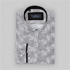 2017 şık yeni trend baskılı siyah beyaz gömlek
