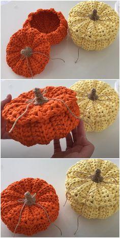 Crochet Pumpkin, Crochet Fall, Halloween Crochet, Crochet Home, Free Crochet, Knit Crochet, Crotchet, Knitting Patterns, Crochet Patterns