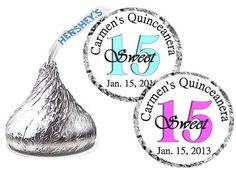 324 QUINCEANERA PARTY FAVORS HERSHEY KISS KISSES LABELS on eBay!