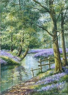 Terry Harrison ~ Secret Bluebell Wood ~ Painting Size: 12 x 18 inches ~ Watercolour Landscape Drawings, Watercolor Landscape, Landscape Art, Landscape Paintings, Watercolor Paintings, Pictures To Paint, Art Pictures, Scenery Paintings, Beautiful Landscapes