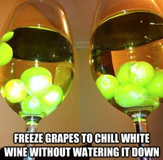 Freeze green grapes to keep white wine cold and to make a pretty presentation for guests. Can use Red Grapes for red wines too. (we tend to drink red wine). The frozen grapes are also a cool refreshing snack for anytime. Vodka Drinks, Fun Drinks, Yummy Drinks, Alcoholic Drinks, Wine Cocktails, Martinis, Cold Drinks, Fruity Drinks, Cocktail Drinks